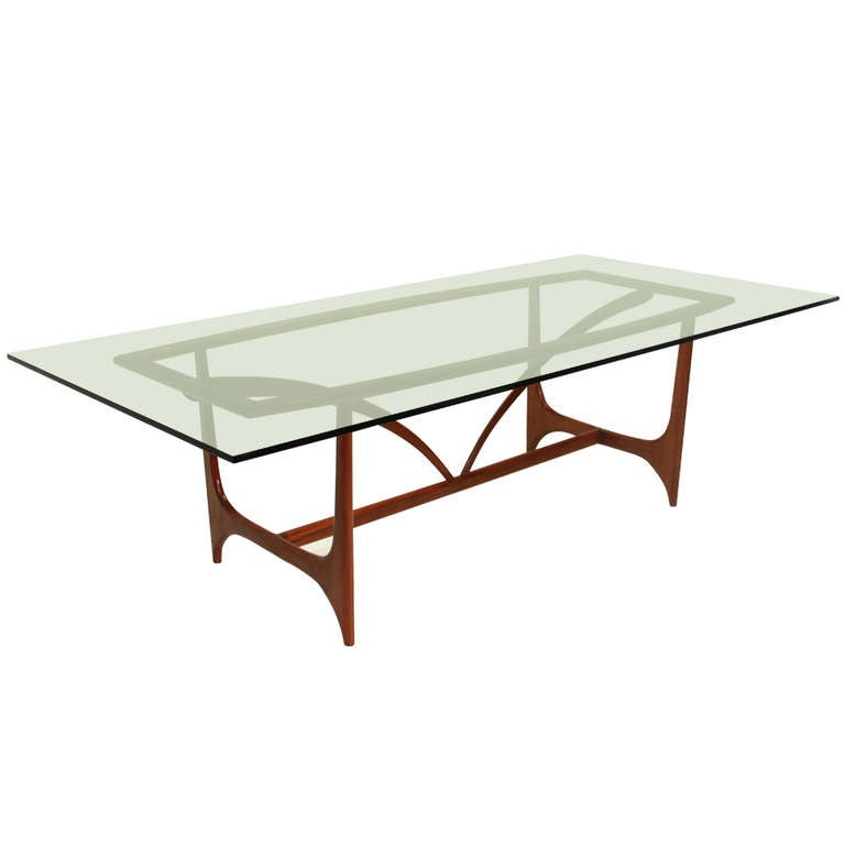Sculptural peroba glass dining table by giuseppe for M s dining room tables
