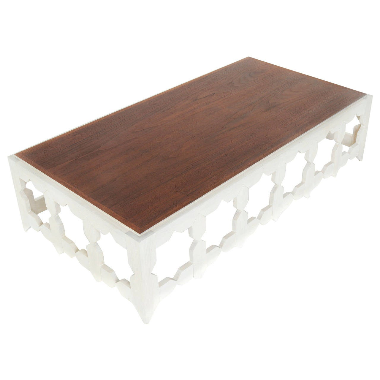 Harvey Probber Marble Top Rectangular Coffee Table W: Rectangular Walnut Coffee Table With Star Cut-Outs At 1stdibs