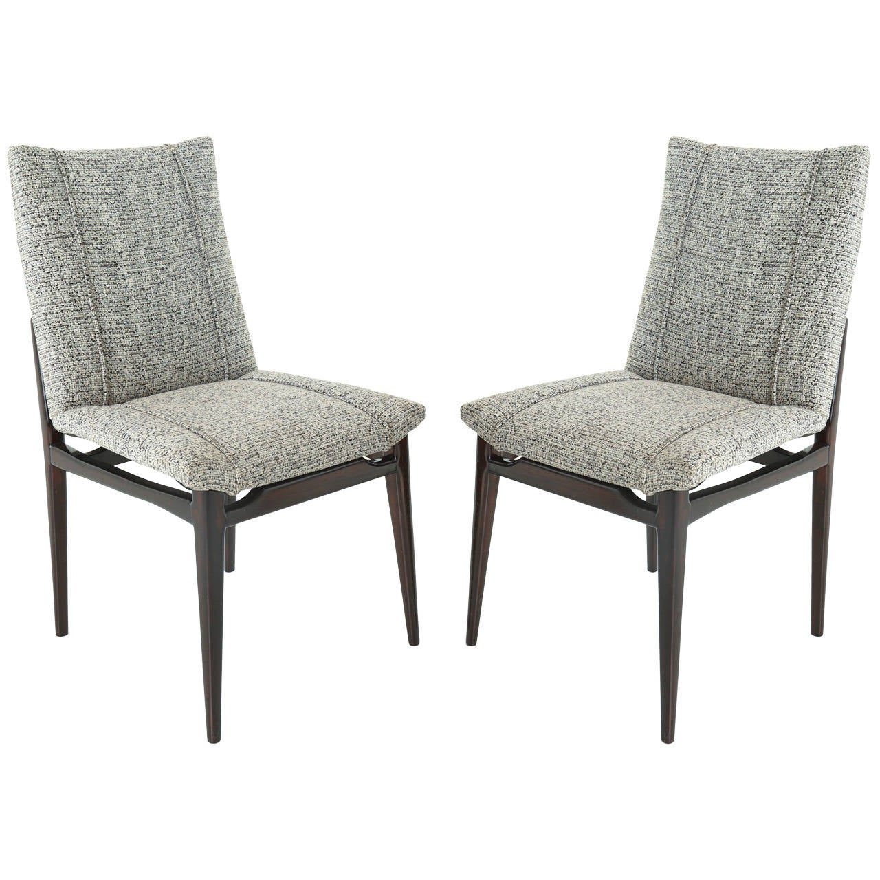 Mid-Century Brazilian Side Chairs with Gray Upholstery