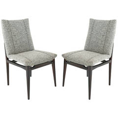 Pair of Brazilian Side Chairs with Gray Upholstery