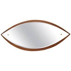 Eye-Shaped Teak Mirror