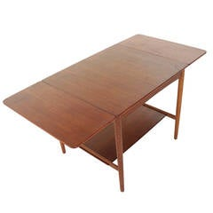 Danish Teak Side Table with Extendable Sides by Hans Wegner