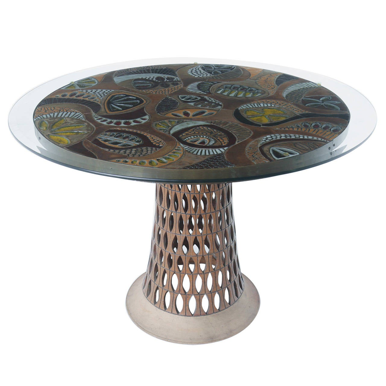 Brent bennett ceramic tile table with glass top at 1stdibs brent bennett ceramic tile table with glass top for sale dailygadgetfo Gallery