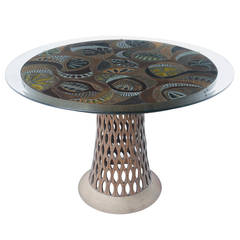 Brent Bennett Ceramic Tile Table with Glass Top