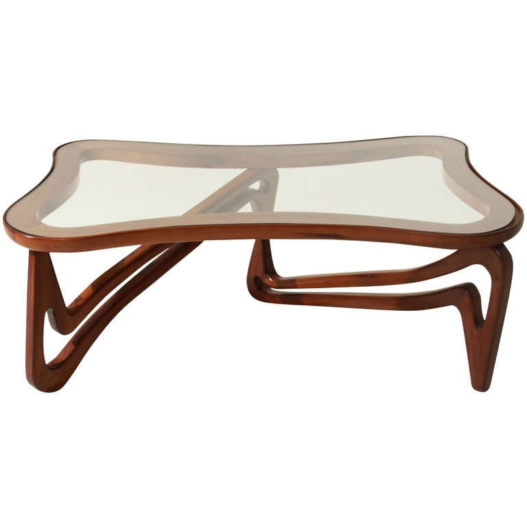 Curved Solid Peroba De Rosa And Glass Coffee Table Attributed To Scapinelli For Sale At 1stdibs
