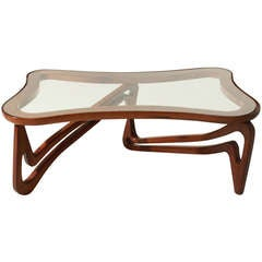Curved Solid Peroba de Rosa and Glass Coffee Table Attributed to Scapinelli