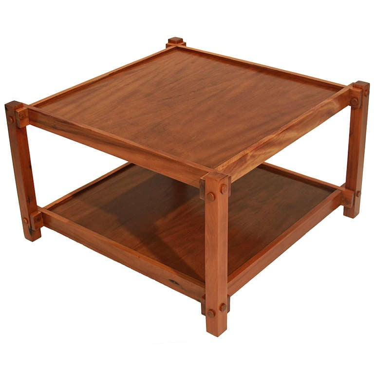 Organic Modern Brazilian Peroba De Campos Wood Coffee Table by Celina