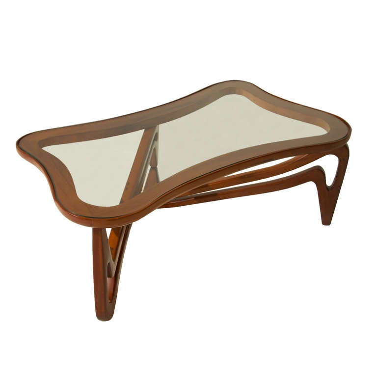 Curved Edge Glass Coffee Table: Curved Solid Peroba De Rosa And Glass Coffee Table