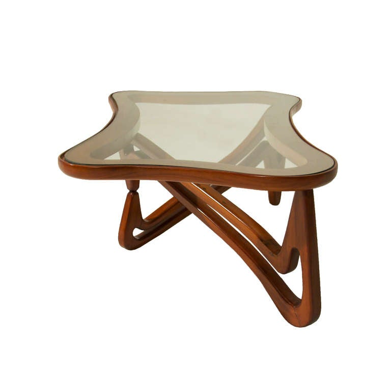 Solid Wood Curved Coffee Table: Curved Solid Peroba De Rosa And Glass Coffee Table