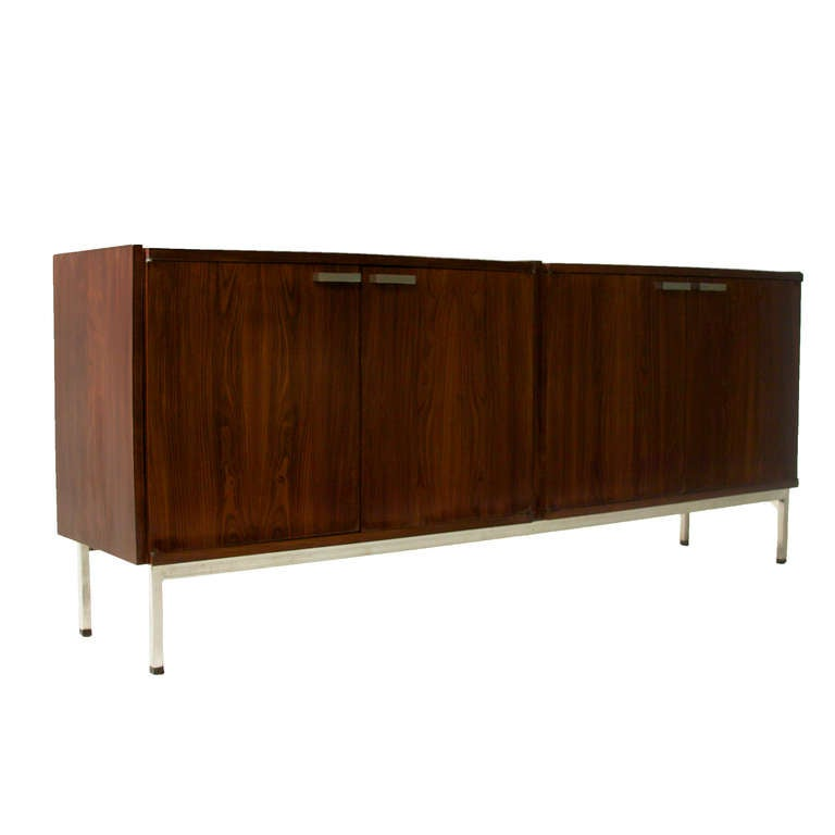 Mid century brazilian modern rosewood and chrome long double buffet cabinet for sale at 1stdibs - Brazilian mid century modern furniture ...