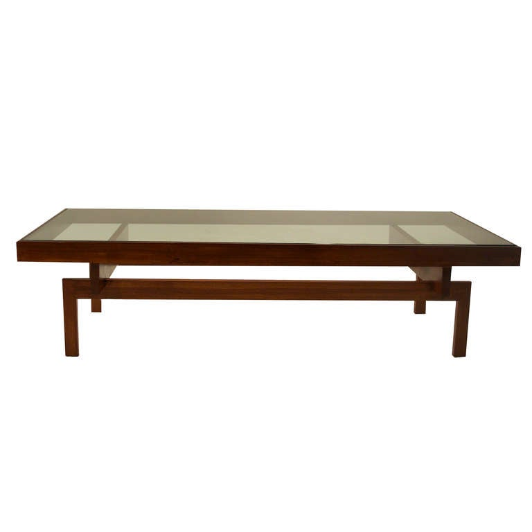Solid Peroba Wood and Glass Coffee Table From Brazil at 1stdibs