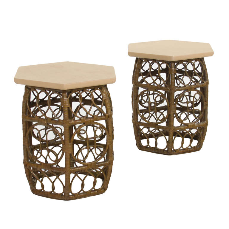 Pair of Bamboo and Leather Side Tables