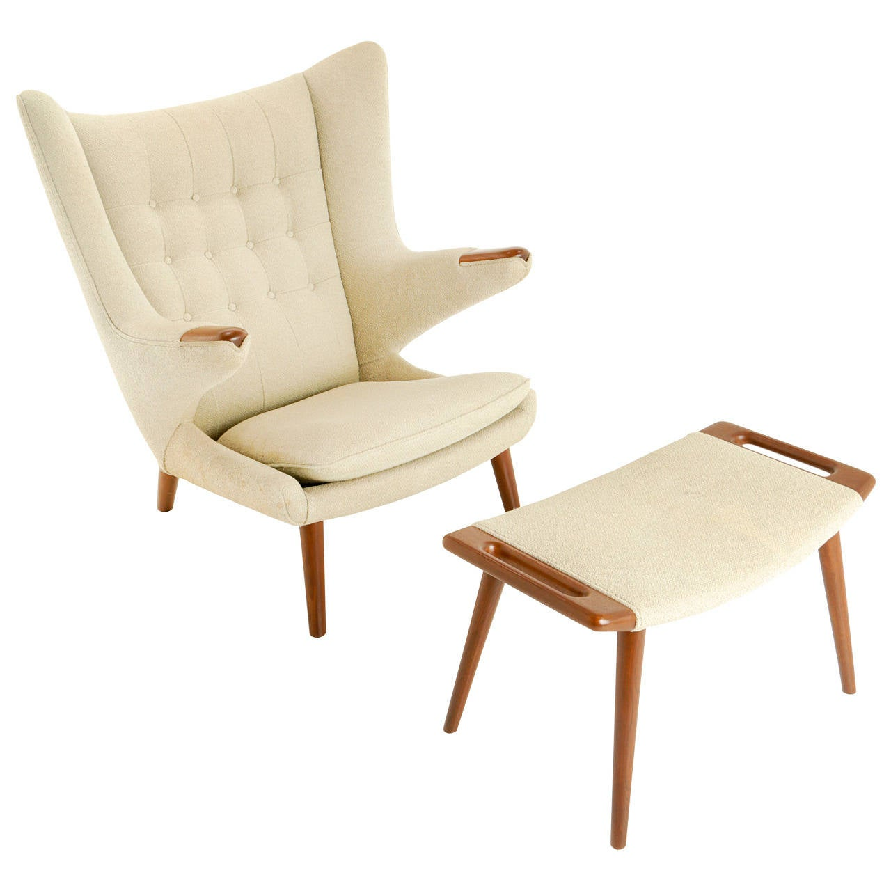 Hans Wegner Papa Bear Chair and Ottoman in Teak at 1stdibs