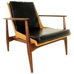 California Craftsman Revolutionary Walnut and Wicker Chair