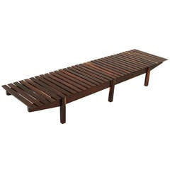 "Solid Rosewood ""Mucki"" Bench by Sergio Rodrigues"