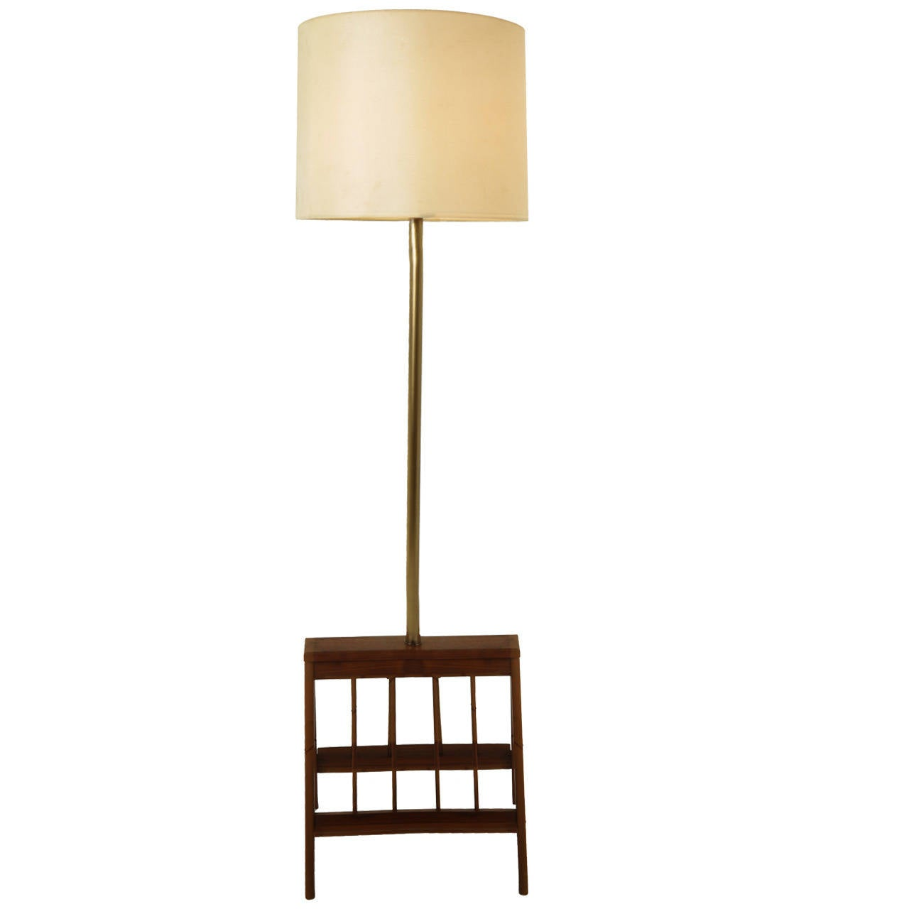 Solid walnut floor lamp with magazine shelves for sale at for Floor lamp with shelves