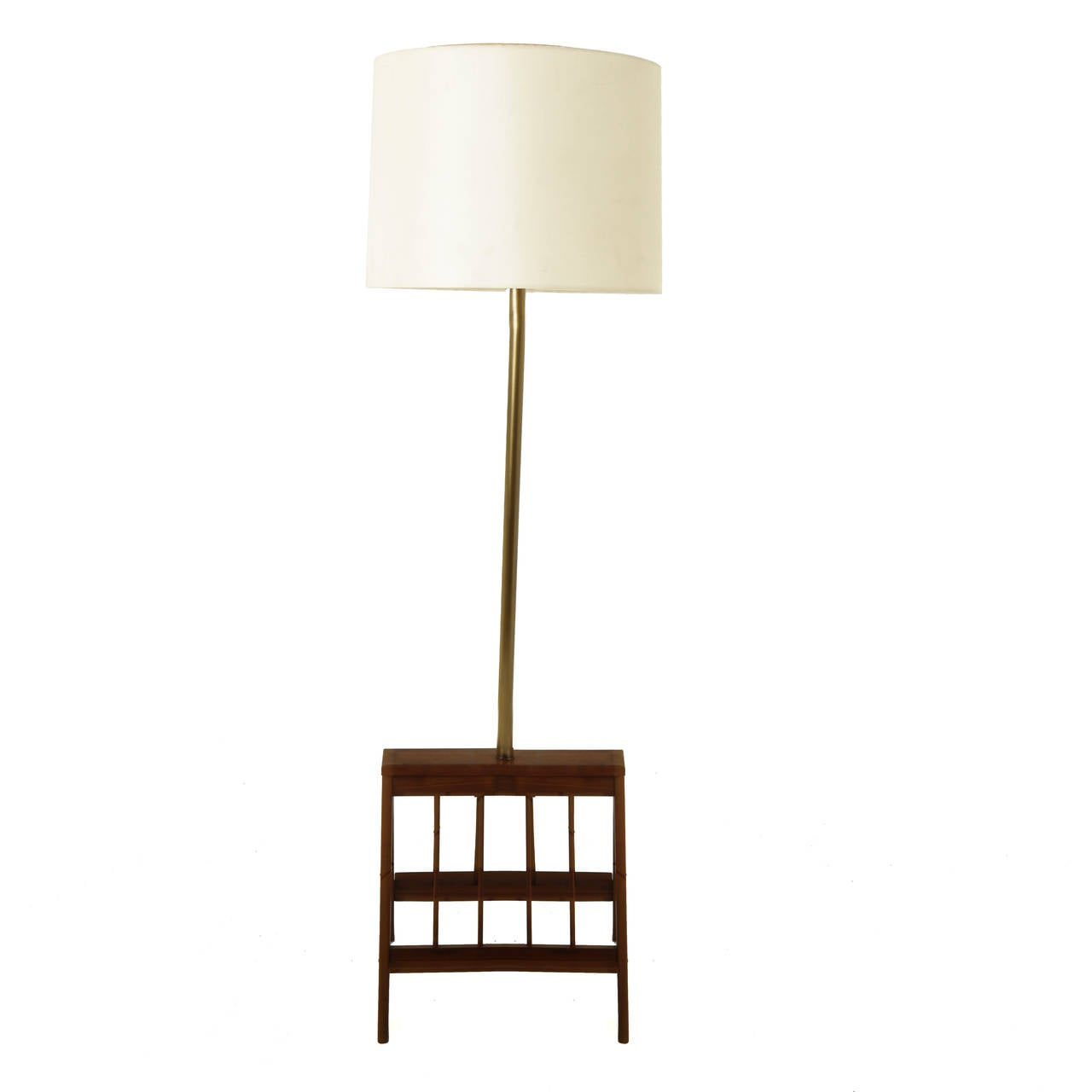 Solid Walnut Floor Lamp With Magazine Shelves At 1stdibs