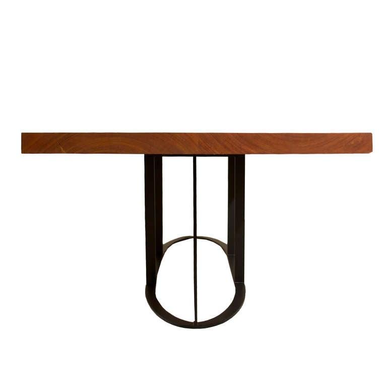 Custom Cumaru Wood Colyer Dining Table W Oval Base By