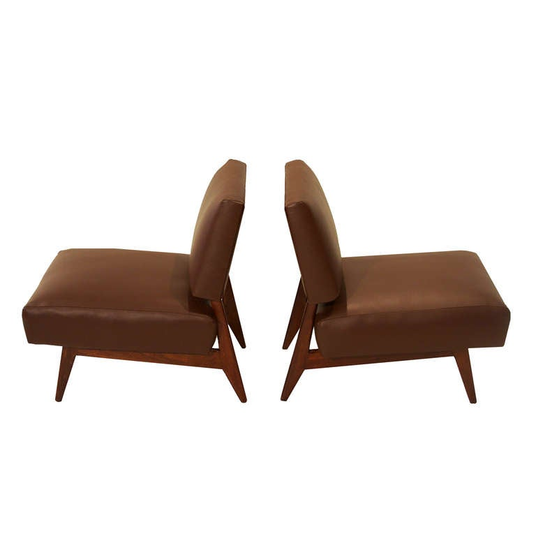 Brazilian Slipper Chairs in Dark Brown Leather and Peroba de Campos at ...