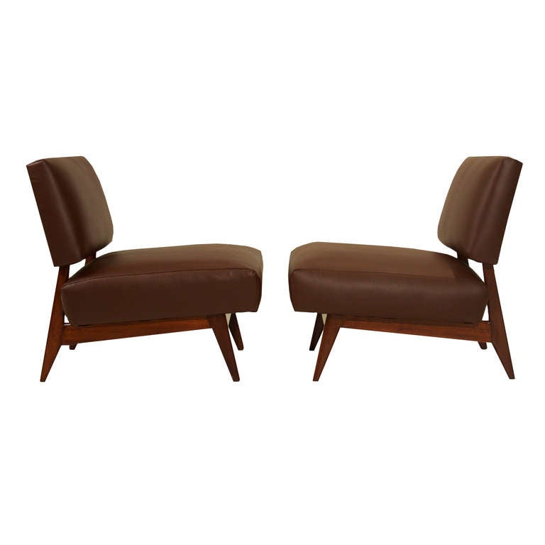 Brazilian Slipper Chairs in Dark Brown Leather and Peroba