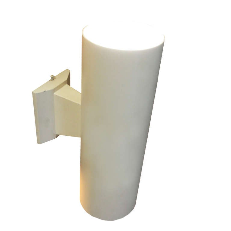 Pair of vintage white cylindrical wall sconces for sale at 1stdibs - Cylindrical wall sconce ...
