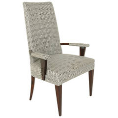 Stately Solid Brazilian Rosewood and Fabric Armchair