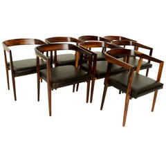 Set of Eight Rosewood Dining Chairs by Joaquim Tenreiro