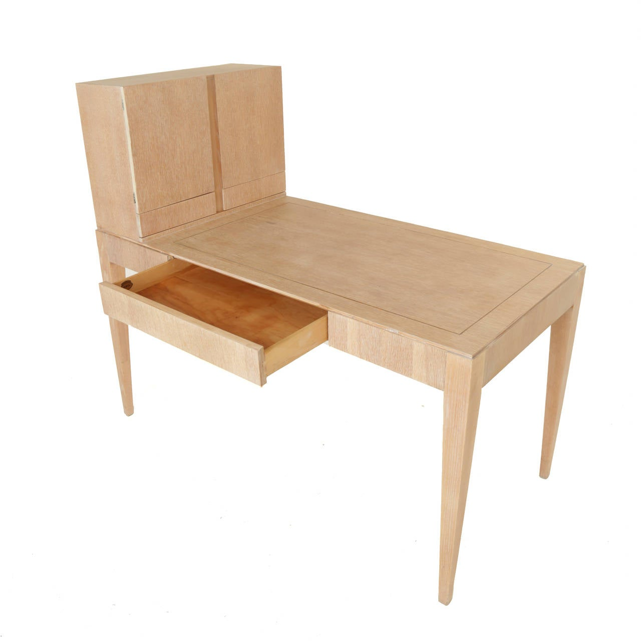 Oiled Oak Secretary Desk by Irwin with Letter Cabinet For Sale