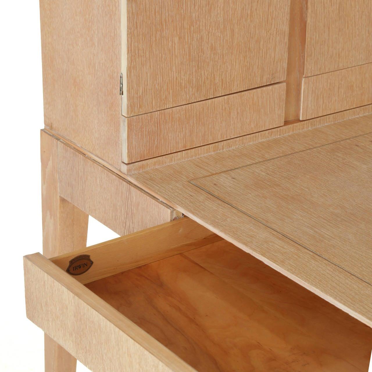 Oak Secretary Desk by Irwin with Letter Cabinet For Sale 1