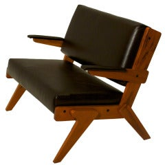 Peroba de Rosa and Leather Bench by Lina Bo Bardi