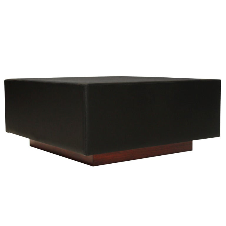 Vintage Black Leather And Garapa Square Wood Coffee Table