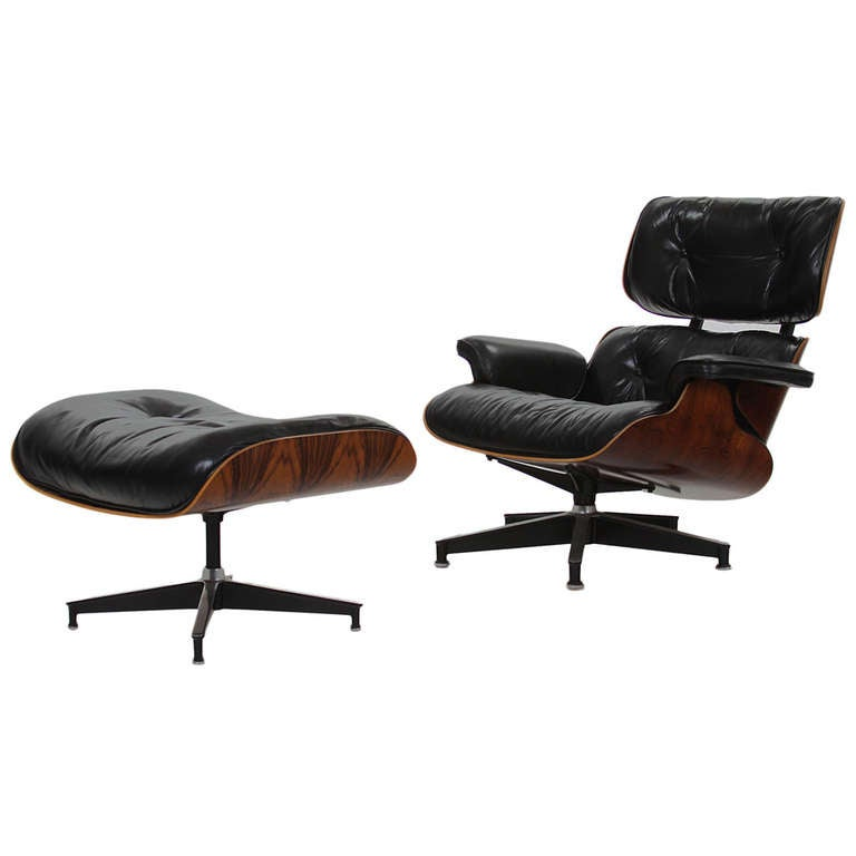 Eames 670 671 lounge chair and ottoman in rosewood for - Herman miller lounge chair and ottoman ...