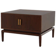 Monteverdi Young Walnut  Side Table with Brutalist Pulls