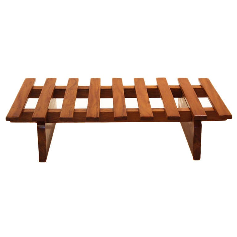 Mid-20th Century Solid Peroba Slatted Bench from Brazil For Sale