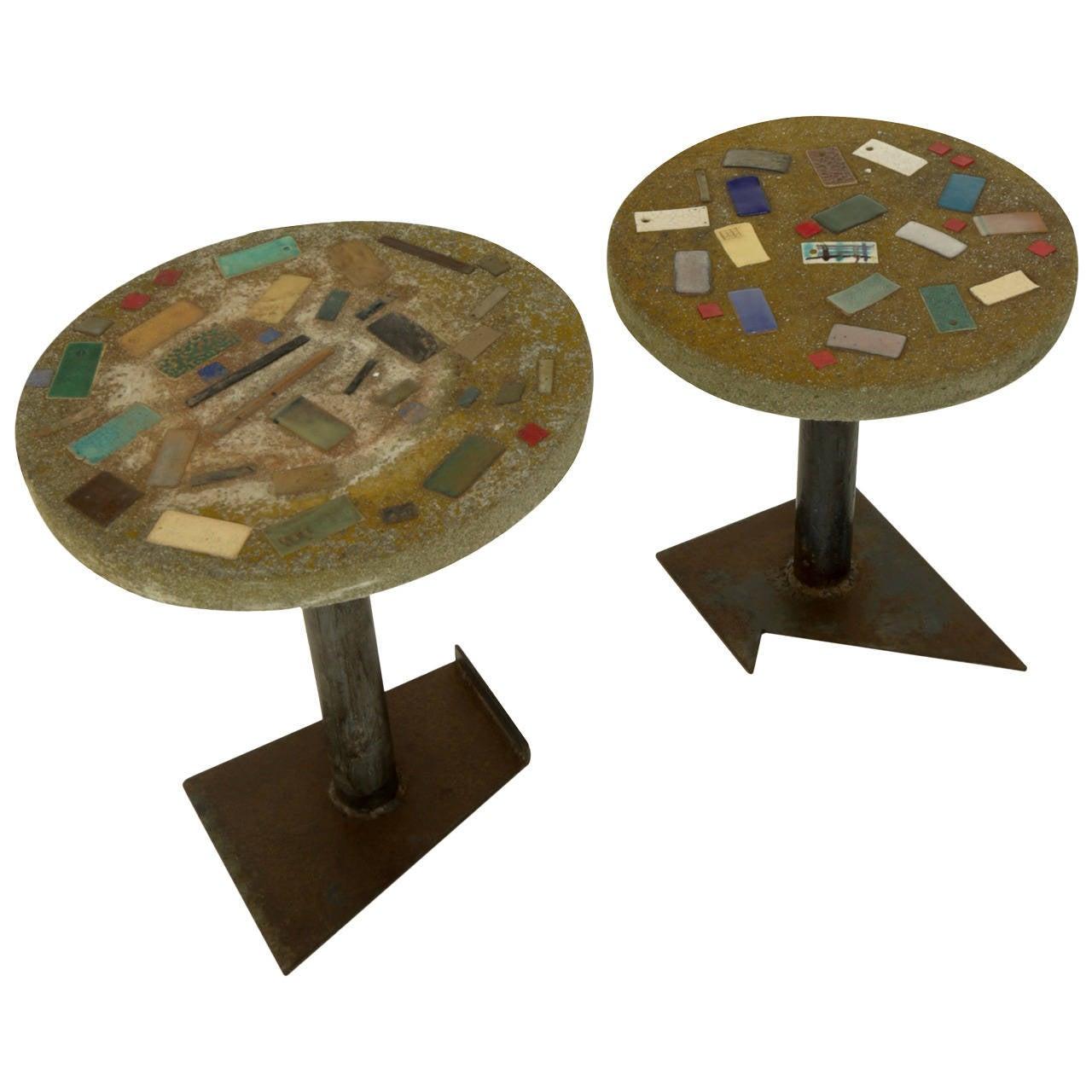 Pair of Ceramic Mosaic-Top, Concrete Accent Tables