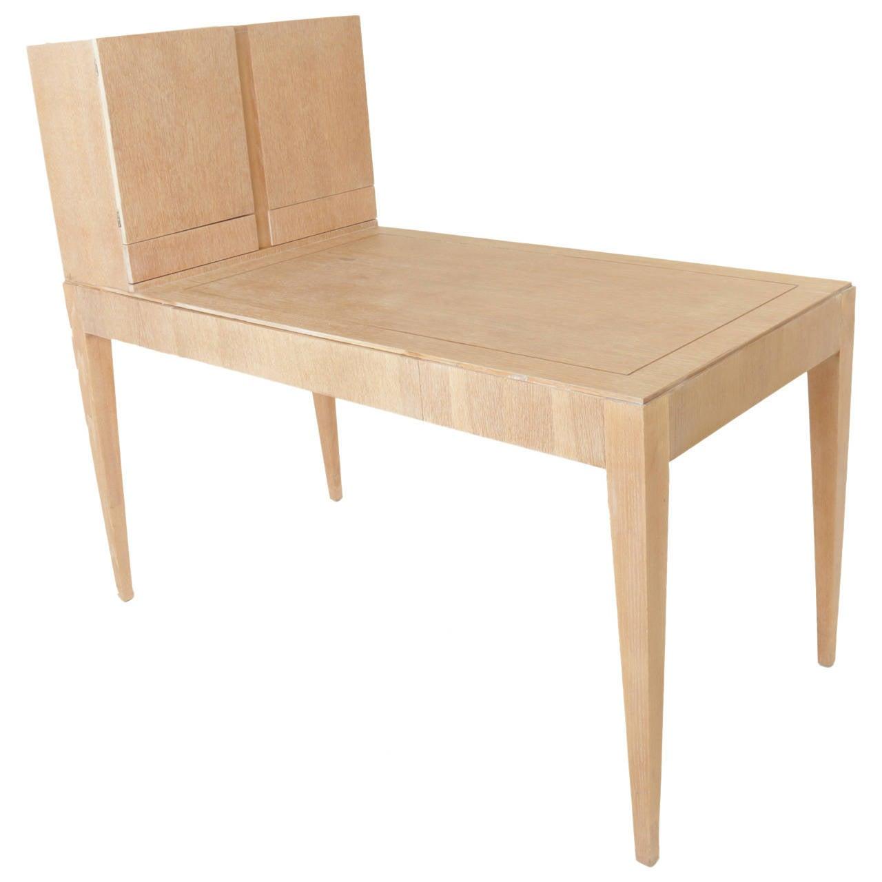 Oak Secretary Desk by Irwin with Letter Cabinet For Sale