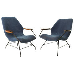 Pair of Martin Eisler Rosewood and Iron Armchairs from Brazil