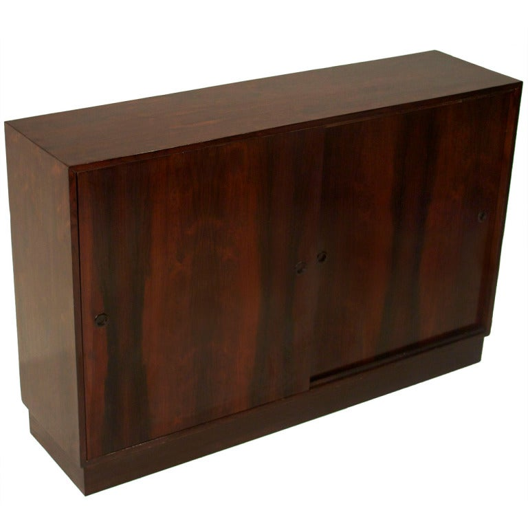Vintage Brazilian Rosewood Cabinet With Sliding Doors At 1stdibs