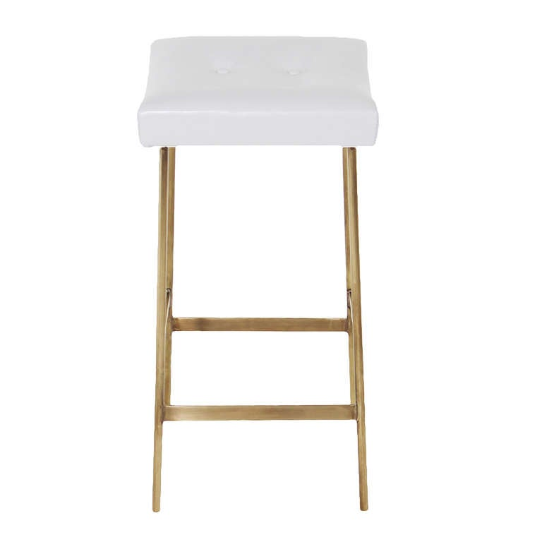 The Brass and Leather Bunda Bar Stool by Thomas Hayes  : 3l from www.1stdibs.com size 768 x 768 jpeg 14kB