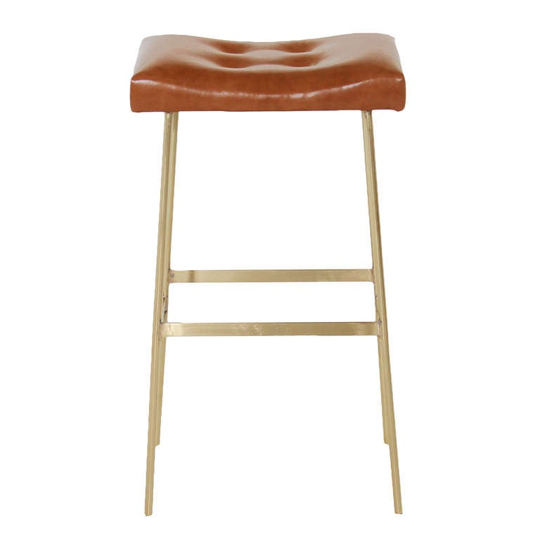 The Brass And Leather Bunda Bar Stool By Thomas Hayes