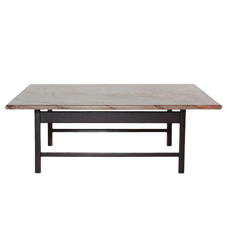 solid rosewood coffee table from brazil with a marble top for sale at 1stdibs. Black Bedroom Furniture Sets. Home Design Ideas
