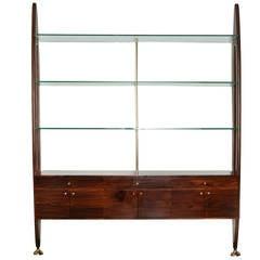 Brazilian Mid-Century Modern Exotic Hardwood Wall Unit with Glass Shelves