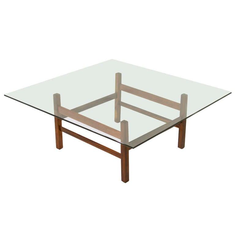 Organic Modern Brazilian Rosewood and Glass Coffee Table