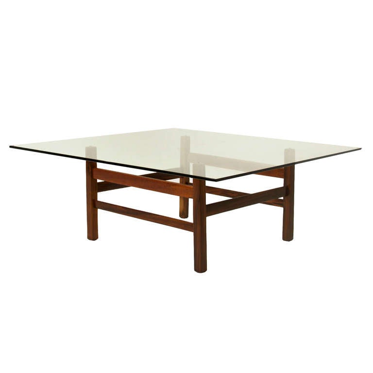 Solid Rosewood And Glass Coffee Table From Brazil For Sale At 1stdibs