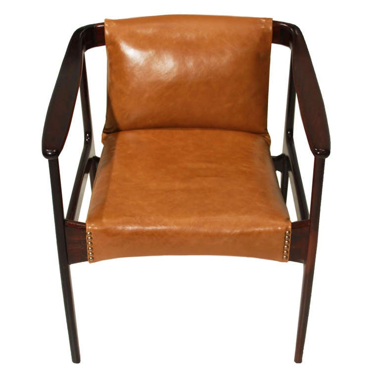 single brazilian rosewood and leather lounge chair at 1stdibs