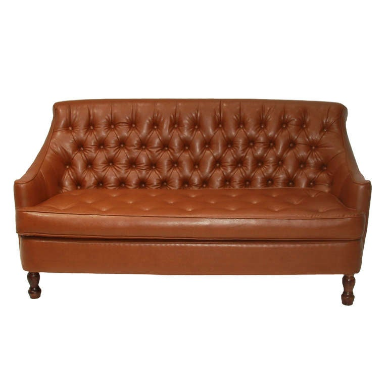 Vintage button tufted camel leatherette love seat at stdibs