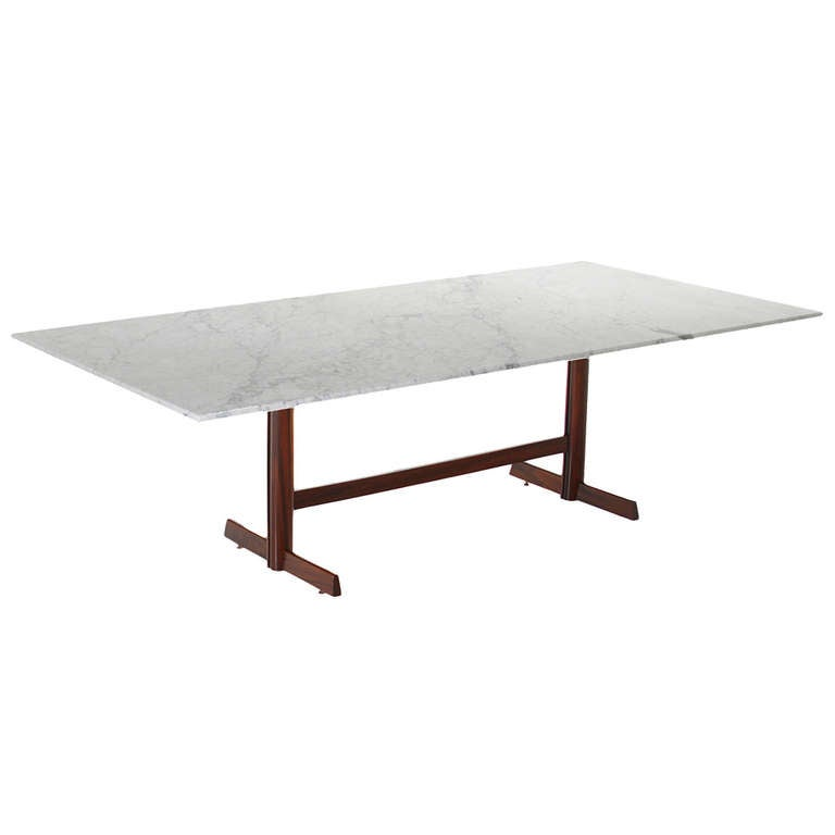 Brazilian Rosewood Dining Table With White Carrara Marble Top 1