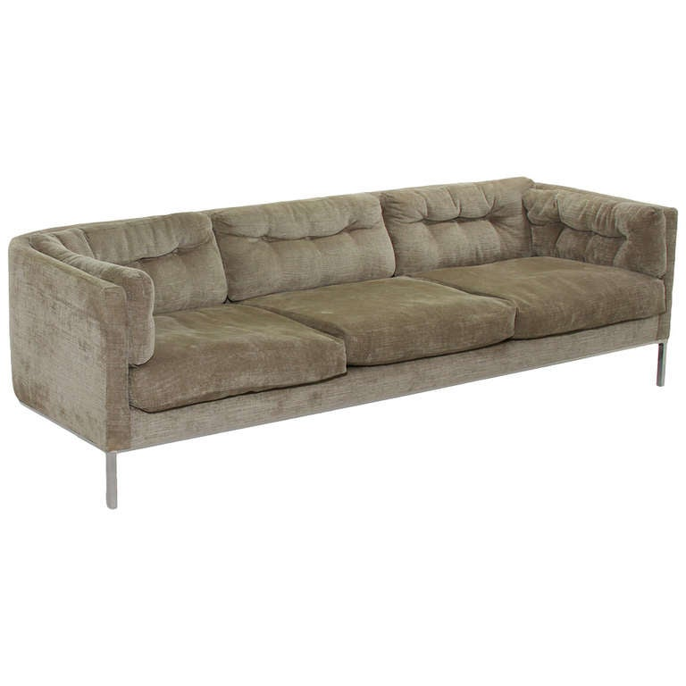 curved back dunbar sofa with stainless steel legs at 1stdibs