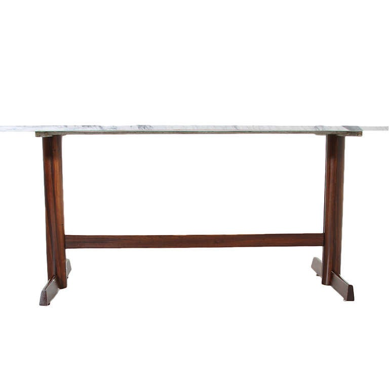 Brazilian rosewood dining table with white carrara marble top at 1stdibs - Marble dining table prices ...