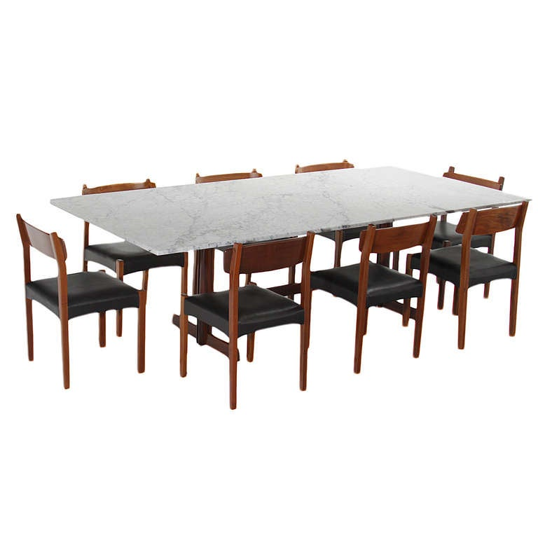 Brazilian Rosewood Dining Table With White Carrara Marble Top Image 2